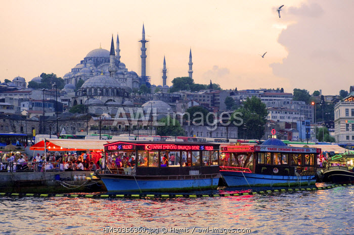 Turkey, Istanbul, Eminonu District, Eminonu harbour, fish restaurants on the Golden Horn Strait, in the background Suleymaniye Camii (Suleymaniye Mosque) in the historical centre listed as World Heritage by the UNESCO