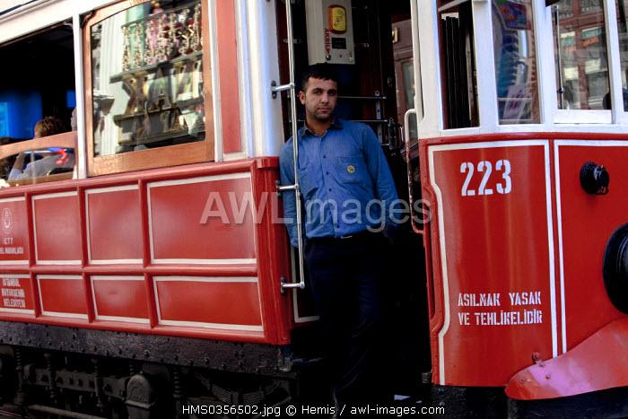 Turkey, Istanbul, Beyoglu, Taksim District, old tram in Istiklal Caddesi Street