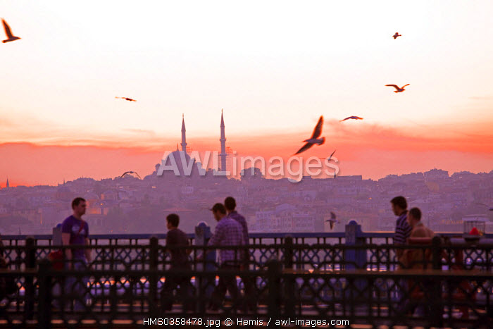 Turkey, Istanbul, Galata Bridge over the Golden Horn Strait