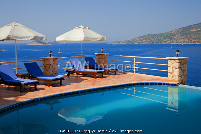 Turkey, Mediterranean Region, Turquoise Coast, Lycia, Kalkan, swimming-pool of Allegra Hotel