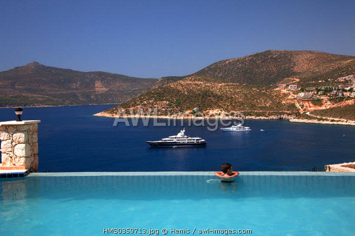 Turkey, Mediterranean Region, Turquoise Coast, Lycia, Kalkan, swimming-pool of Allegra Hotel