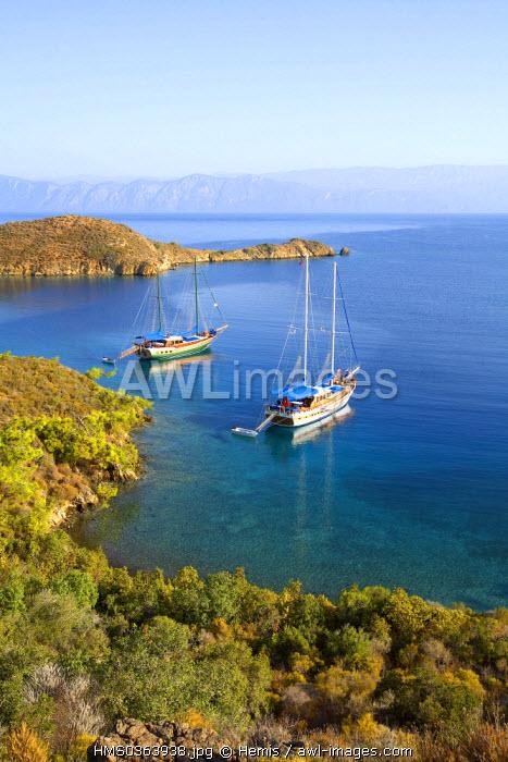 Turkey, Aegean Region, Gulf of Gokova, Tuzla Bay, Gulet mooring (local and typical sailboat)