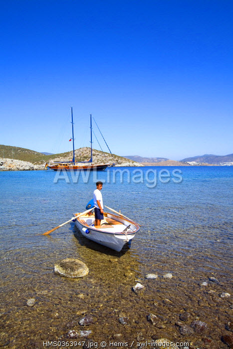 Turkey, Aegean Region, Bodrum, Gulet Xenos 3 Bodrum (local and typical sailboat)