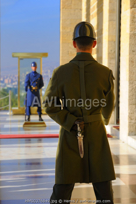 Turkey, Central Anatolia, Ankara, soldier mounting guard in front of the Ataturk Mausoleum