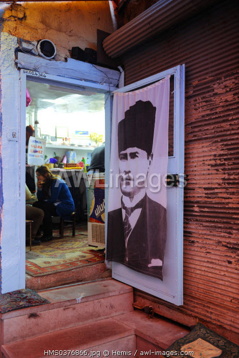 Turkey, Central Anatolia, Ankara, Ataturk portrait in a house of the old town