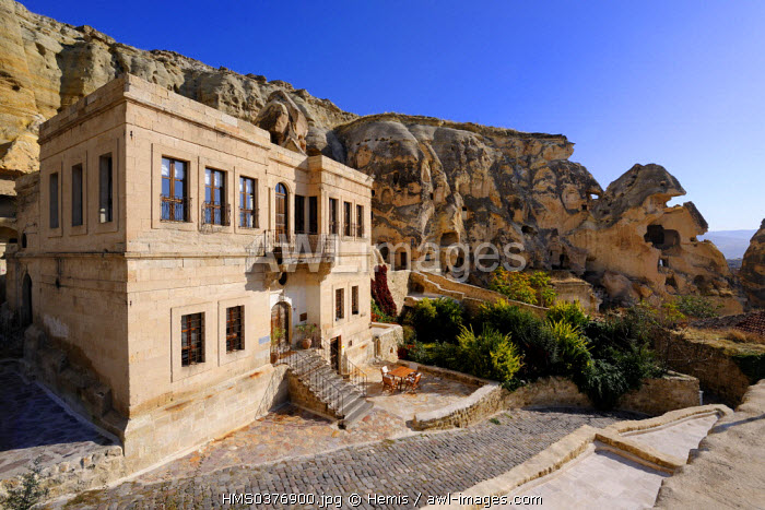 Turkey, Central Anatolia, Nevsehir Province, Cappadocia listed as World Heritage by UNESCO, Urgup, Yunak Evleri luxury hotel in old troglodytic houses