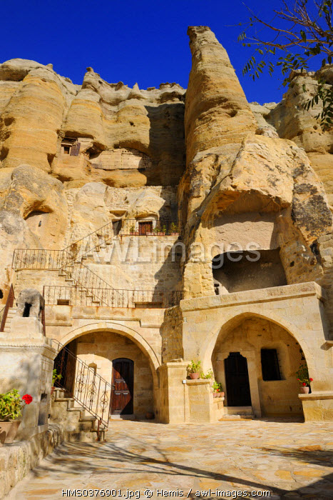Turkey, Central Anatolia, Nevsehir Province, Cappadocia listed as World Heritage by UNESCO, Urgup, Yunak Evleri luxury hotel in old troglodytic houses