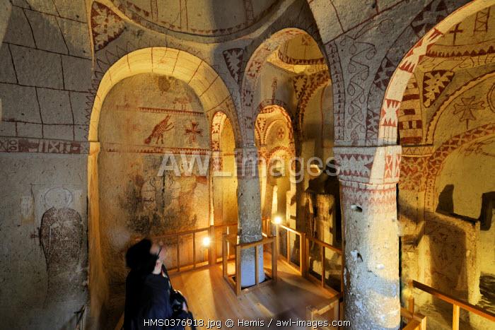 Turkey, Central Anatolia, Nevsehir Province, Cappadocia listed as World Heritage by UNESCO, Goreme, open air museum, Barbara Kilisesi (St Barbara troglodytic church)