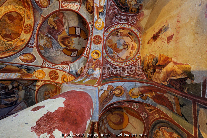 Turkey, Central Anatolia, Nevsehir Province, Cappadocia listed as World Heritage by UNESCO, Goreme, open air museum, Elmali Kilise (troglodytic church called the Church with the Apple)