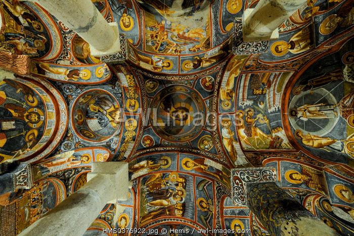 Turkey, Central Anatolia, Nevsehir Province, Cappadocia listed as World Heritage by UNESCO, Goreme, open air museum, Karanlik Kilise (Dark Church)