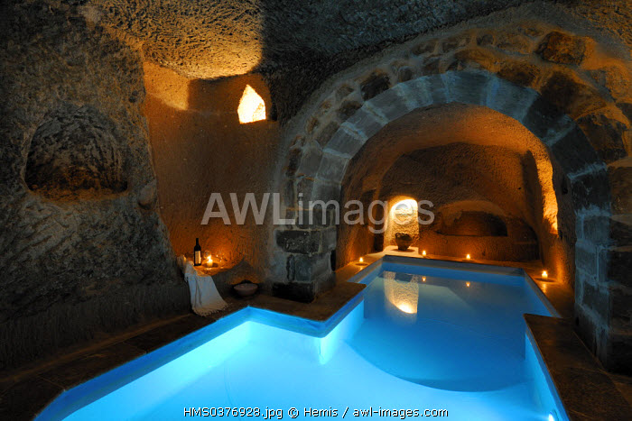 Turkey, Central Anatolia, Nevsehir Province, Cappadocia listed as World Heritage by UNESCO, Uchisar, Argos in Cappadocia troglodytic hotel