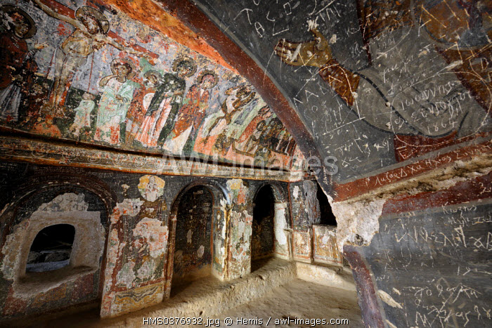 Turkey, Central Anatolia, Kayseri Province, Cappadocia, Soganli Valley, Karabas Kilise (troglodytic church of the Black Head)