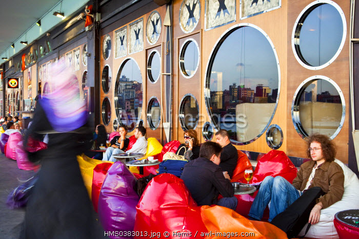 Turkey, Istanbul, Eminonu District, restaurants and trendy cafes under the Galata Bridge over the Golden Horn Strait