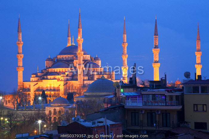 Turkey, Istanbul, historical centre listed as World Heritage by UNESCO, Sultanahmet District, Sultan Ahmet Camii Mosque (Blue Mosque)