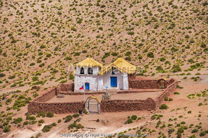 Chile, Atacama Desert, Machuca, Antofagasta Region, El Loa Province. The small thatched church at Machuca.