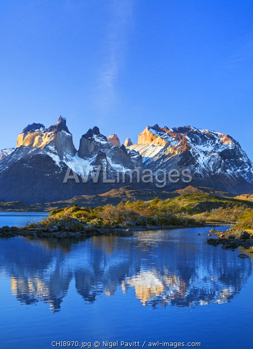 Chile, Torres del Paine, Magallanes Province. The principal attraction of the Torres del Paine National Park is the Paine massif with its granite spires and the contrasting igneous, sedimentary and metamorphic rocks of Ceurnos de Paine.