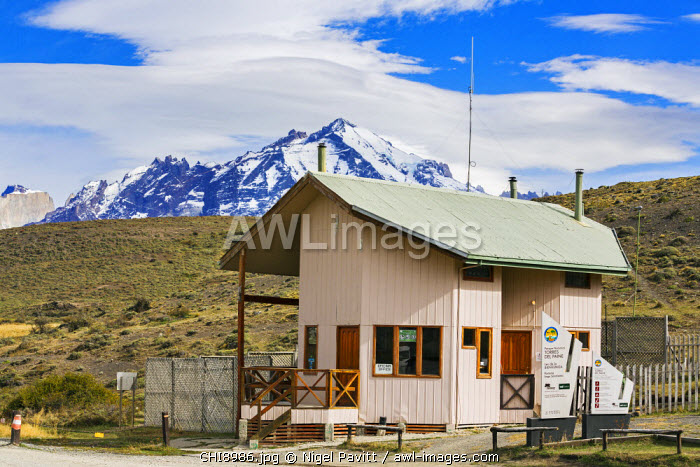 Chile, Torres del Paine, Magallanes Province. The ticket office of Torres del Paine National Park. The park is one of the biggest and most visited in Chile.