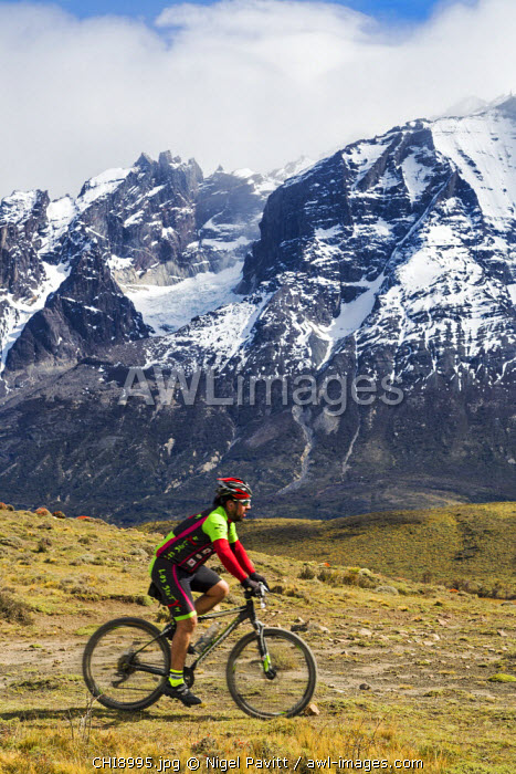 Chile, Torres del Paine, Magallanes Province. Cycling in the Torres del Paine National Park.