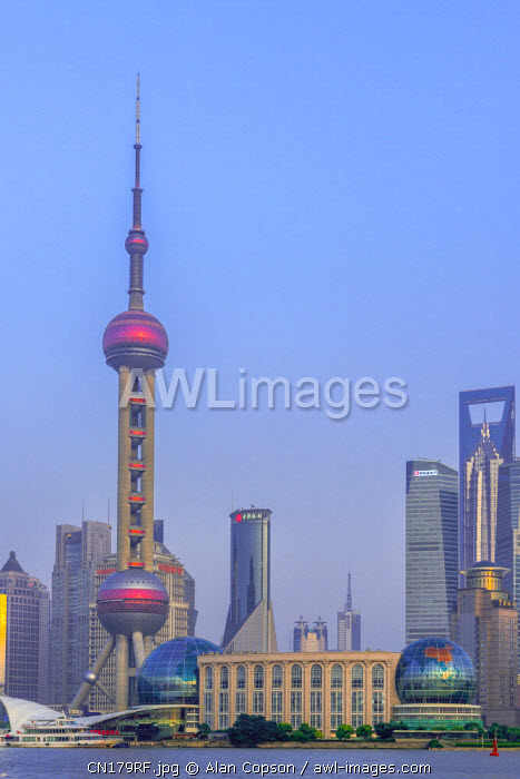 China, Shanghai, Pudong District, Skyline of the Financial District across Huangpu River