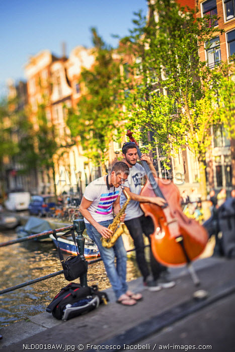Netherlands, North Holland, Amsterdam. Street Musicians.