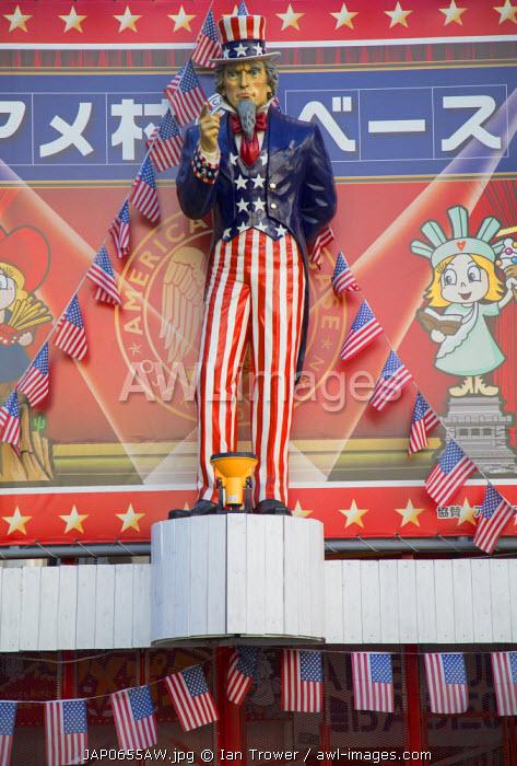 Uncle Sam statue in Amerika-Mura (America Village), Minami, Osaka, Kansai, Japan