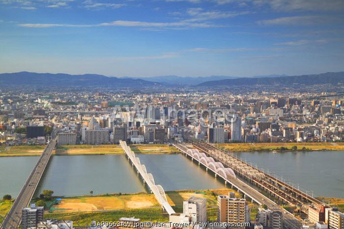 View of bridges over Yodo River, Osaka, Kansai, Japan