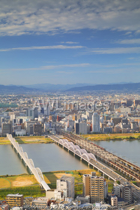 View of bridges over Yodo River, Osaka, Kansai, Japan