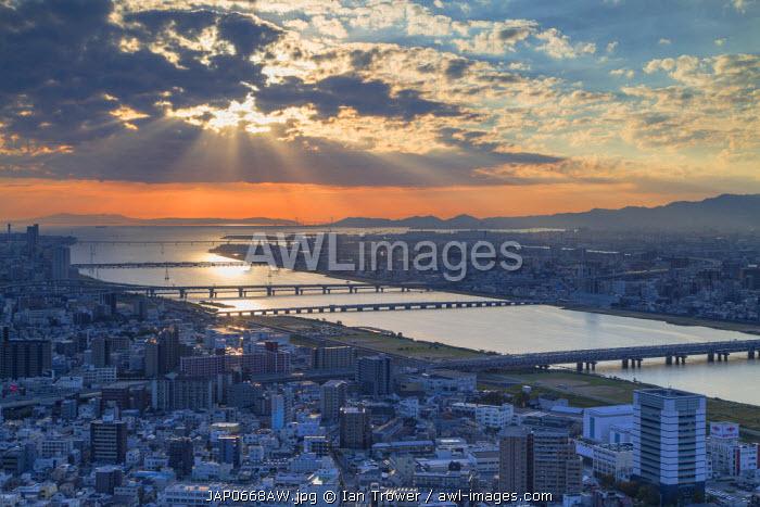 View of Yodo River and Osaka Bay, Osaka, Kansai, Japan