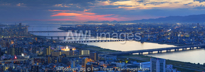 View of Yodo River and Osaka Bay at sunset, Osaka, Kansai, Japan