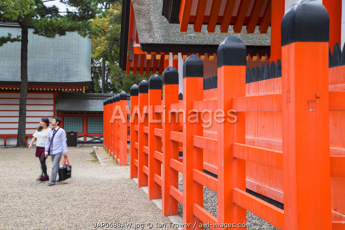 People at Shinto shrine of Sumiyoshi Taisha, Osaka, Kansai, Japan