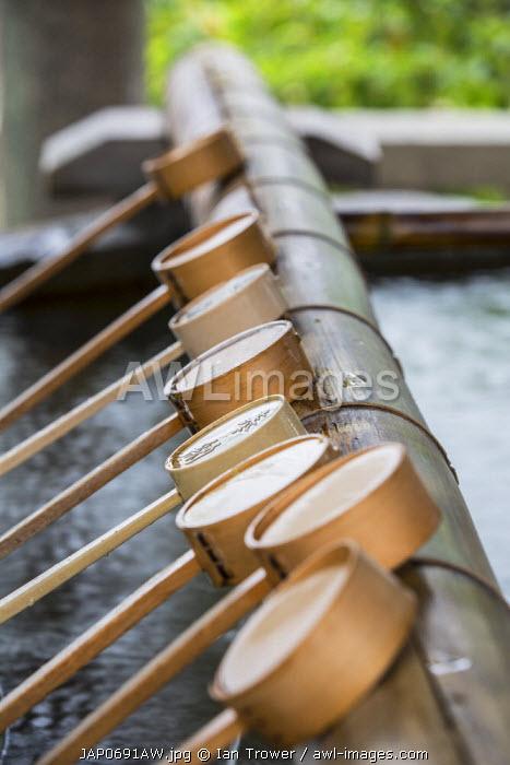 Water ladles at Shinto shrine of Sumiyoshi Taisha, Osaka, Kansai, Japan