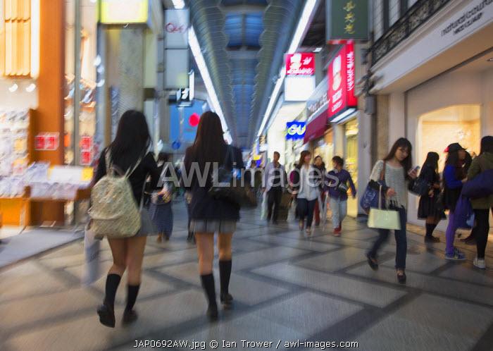 Shoppers in shopping arcade in Shinsaibashi, Osaka, Kansai, Japan