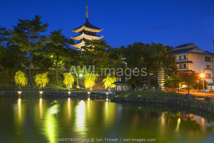 Pagoda at Kofuku-ji Temple (UNESCO World Heritage Site) at dusk, Nara, Kansai, Japan