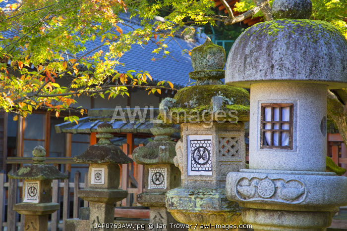 Stone lanterns at Sangatsudo Hall in Nara Park, Nara, Kansai, Japan