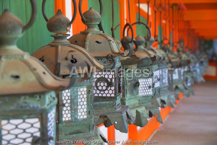Lanterns at Kasuga Taisha Shrine (UNESCO World Heritage Site) at dusk, Nara, Kansai, Japan