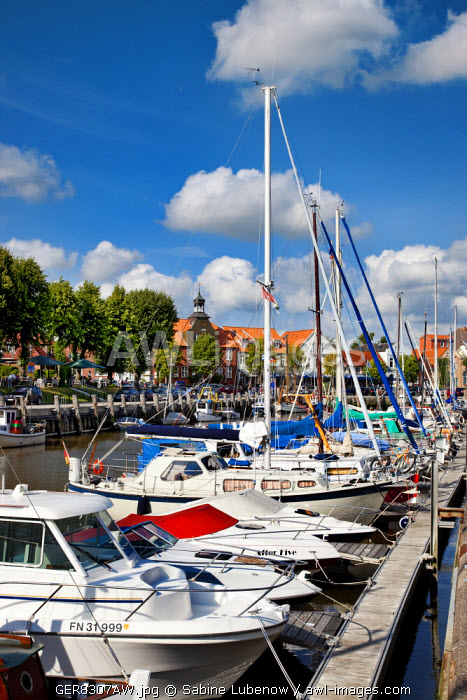 Marina, Tonning, Eiderstedt peninsula, Northern Frisia, Schleswig-Holstein, Germany