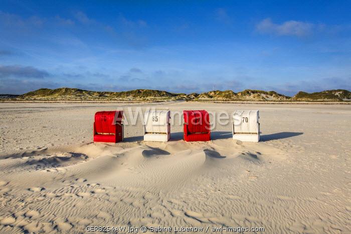 Red and white beach baskets, Amrum Island, Northern Frisia, Schleswig-Holstein, Germany