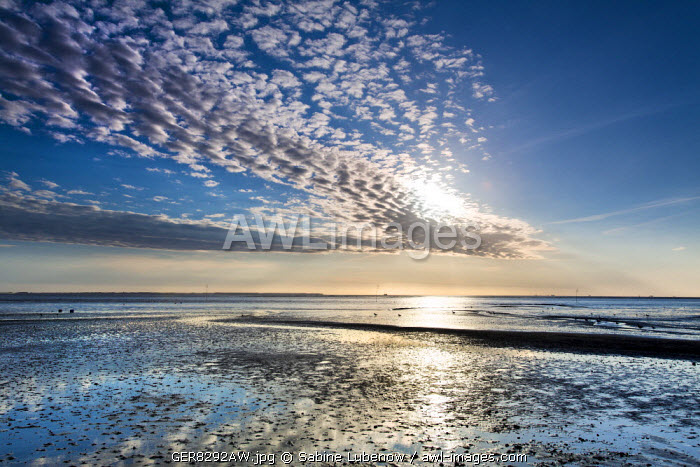 Clouds and wadden sea, Amrum Island, Northern Frisia, Schleswig-Holstein, Germany