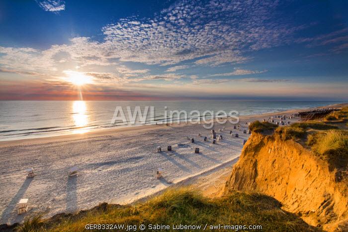 Sundown, red cliff, Kampen, Sylt Island, Northern Frisia, Schleswig-Holstein, Germany