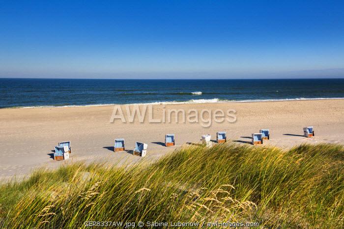 Beach baskets on the beach, Sylt Island, Northern Frisia, Schleswig-Holstein, Germany