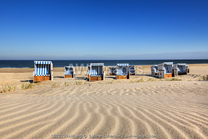 Beach baskets on the beach, Sylt Island, Northern Frisia, Schleswig-Holstein, Germany
