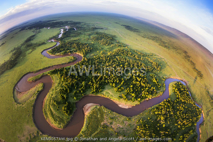 Africa, Kenya, Narok County, Masai Mara National Reserve. Fisheye view from a hot air balloon over the Masai Mara.