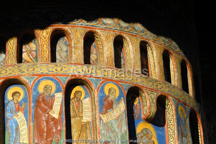 Romania, South of Bukovina Region, towards Gura Humorului town along Moldovita river, Voronet Orthodox Monastery listed as World Heritage by UNESCO, Doomsday fresco in West wall side