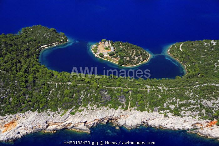 Croatia, Dalmatia, Dalmatian coast, Mljet National Park, SV Marija monastery (aerial view)