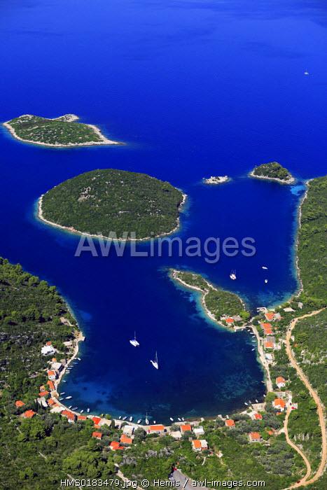 Croatia, Dalmatia, Dalmatian coast, Mljet National Park (aerial view)
