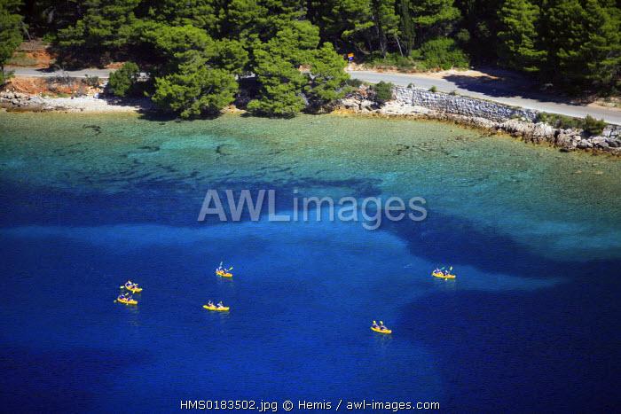 Croatia, Dalmatia, Dalmatian coast, Peljesac peninsula, kayak near Orebic city (aerial view)