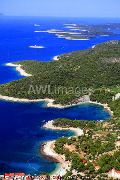 Croatia, Dalmatia, Dalmatian coast, Peljesac Peninsula (aerial view)