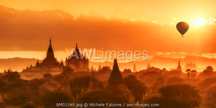 hot air balloon over the Pagodas at Bagan, Mandalay Region, Myanmar 9Burma)