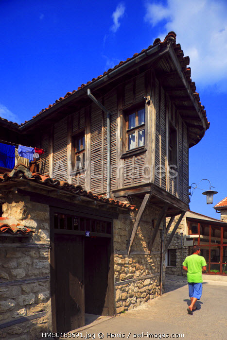 Bulgaria, Black Sea region, Nessebar listed as World Heritage by UNESCO, house with wooden corridor