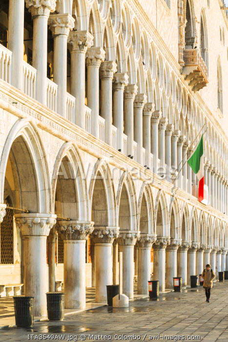 Italy, Veneto, Venice. Detail of the colonnade of Doges palace